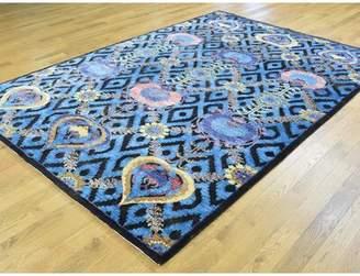Isabelline One-of-a-Kind Bourn Arts Crafts Design Handwoven Blue Wool/Silk Area Rug Isabelline