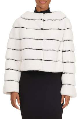 Oscar de la Renta Striped Mink Fur Bolero Jacket