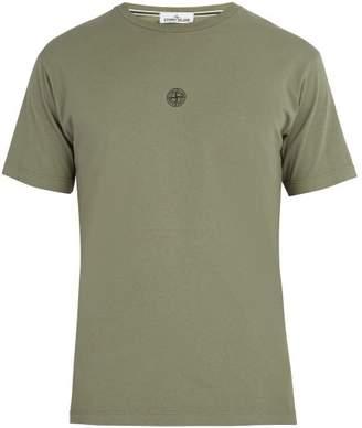 Stone Island Reflective Logo Print Cotton T Shirt - Mens - Khaki