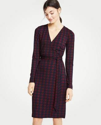 Ann Taylor Petite Houndstooth Matte Jersey Wrap Dress