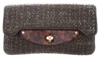 Stella McCartney Woven Vegan Leather Clutch Olive Woven Vegan Leather Clutch