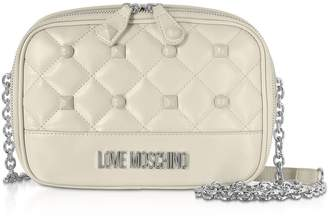 Love Moschino Quilted Eco-leather Crossbody Bag W/ Studs