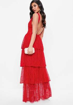 Missguided Red Lace Tiered Frill Maxi Dress