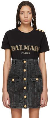 Balmain Black Studded Logo T-Shirt