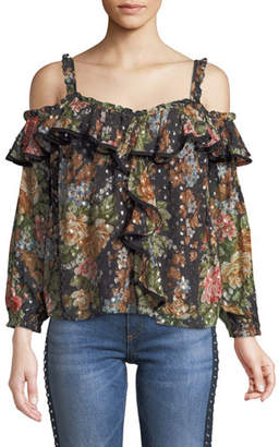 Needle & Thread Paradise Rose Cold-Shoulder Ruffle Top
