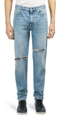 Saint Laurent Light-Wash Slim-Fit Ripped Jeans