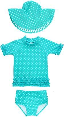 RuffleButts One-Piece Rashguard Swimsuit & Hat Set