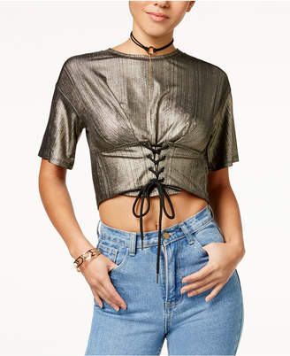 Material Girl Juniors' Metallic Cropped Corset Top, Created for Macy's