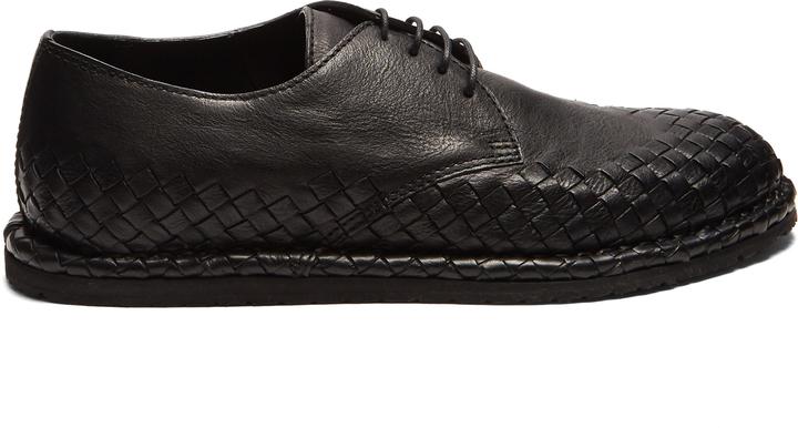Bottega VenetaBOTTEGA VENETA Intrecciato-trimmed leather derby shoes