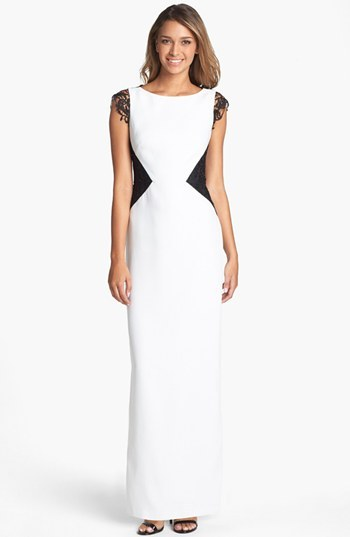 Laundry by Shelli Segal Colorblock Lace Overlay Satin Gown