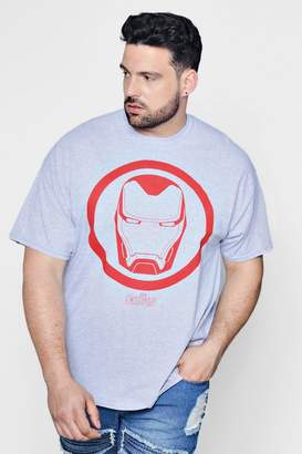 boohoo Big And Tall Marvel Ironman T-Shirt