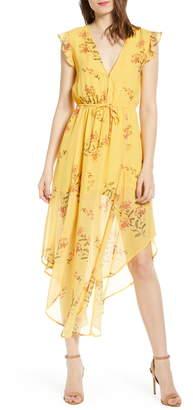 Leith Floral Plunge Neck Handkerchief Hem Dress
