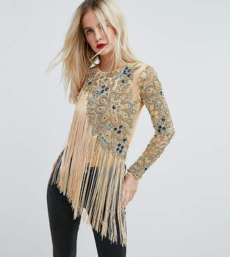 A Star Is Born Petite Going Out One Shoulder Embellished Bodysuit With Fringe Detail