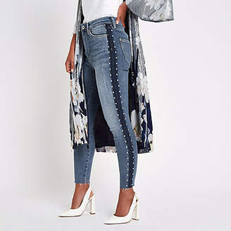 River Island Petite blue Harper stud side skinny jeans