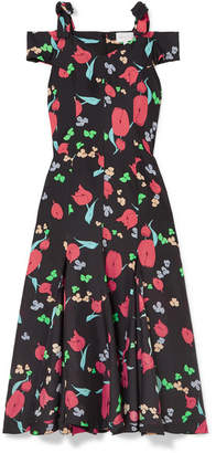 Alice McCall One Kiss Cold-shoulder Floral-print Crepe De Chine Midi Dress - Black