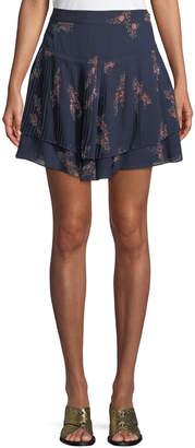 Derek Lam 10 Crosby Pleated Floral-Print Mini Skirt