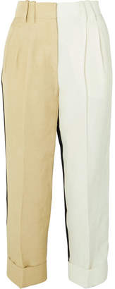 Petar Petrov Color-block Linen-blend Tapered Pants - Mushroom
