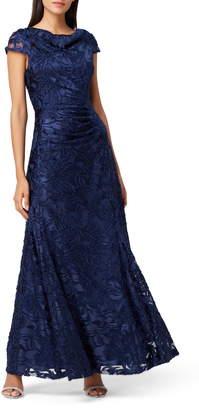 Tahari Floral Burnout Evening Gown