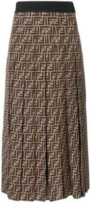 Fendi FF logo flared midi skirt