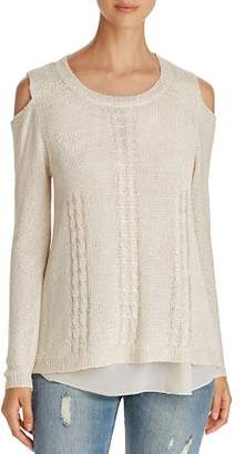 Sioni Sequin Cold-Shoulder Sweater