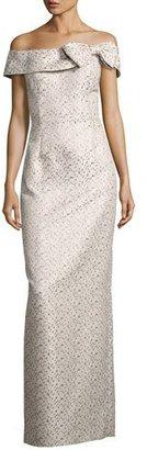 Rickie Freeman for Teri Jon Off-the-Shoulder Geometric Jacquard Column Gown, Multicolor $710 thestylecure.com
