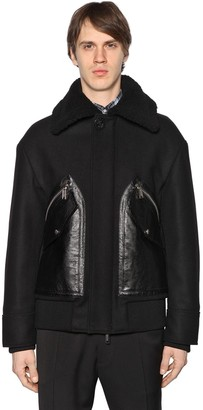 DSQUARED2 Wool Felt Jacket W/ Leather Pockets
