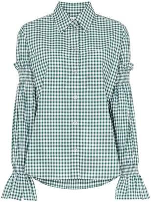 Burberry Gingham print smock sleeve cotton shirt