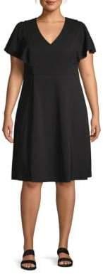 Calvin Klein Plus Flounce-Sleeve Shift Dress