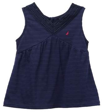 Nautica Textured Pique Crochet Trim Tank Top (Toddler Girls)