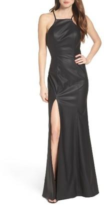 Women's La Femme Faux Leather Gown $528 thestylecure.com
