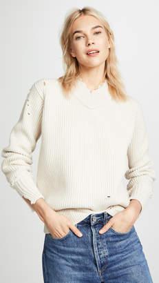 Helmut Lang Distressed Wool V Neck Pullover
