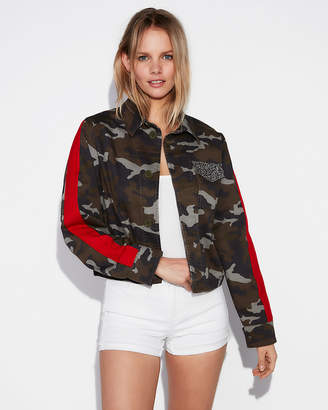 Express Striped Camo Cropped Military Jacket
