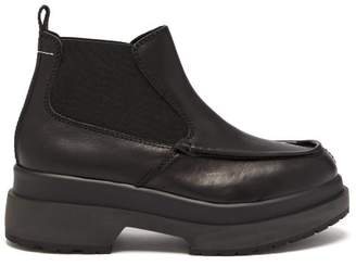 MM6 MAISON MARGIELA Raised Sole Leather Chelsea Boots - Womens - Black