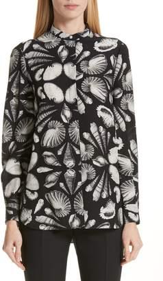 Alexander McQueen Cabinet of Shells Print Silk Blouse
