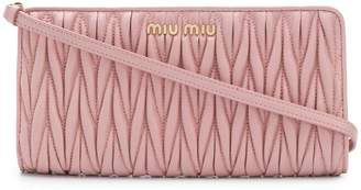 Miu Miu matelassé leather clutch bag