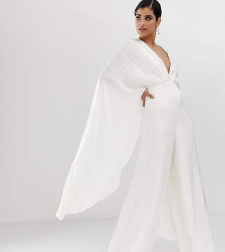 Asos Edition EDITION Tall cape sleeve wedding jumpsuit in satin