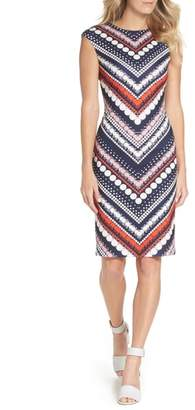 Vince Camuto Print Body-Con Scuba Dress
