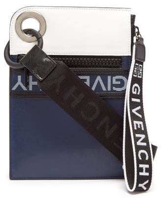 811f4af9bb Givenchy Logo Print Leather Mini Messenger Bag - Mens - Navy