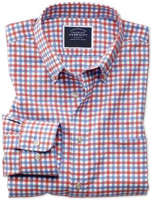 Charles Tyrwhitt Slim Fit Button-Down Non-Iron Twill Red and Sky Blue Gingham Cotton Casual Shirt Single Cuff Size XS