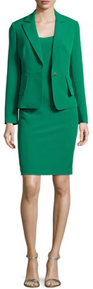 Albert Nipon Structured Stretch Crepe Sheath Dress w/ Jacket, New Emerald $395 thestylecure.com