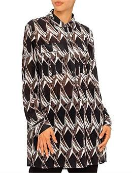 St. John Abstract Floral Georgette Tunic