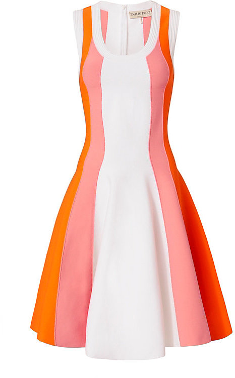 Emilio Pucci Emilio Pucci Paneled Knit Flare Dress