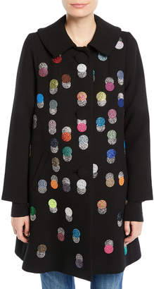 Libertine Peter-Pan Collar Multicolor Beaded-Dots Swing Wool Coat