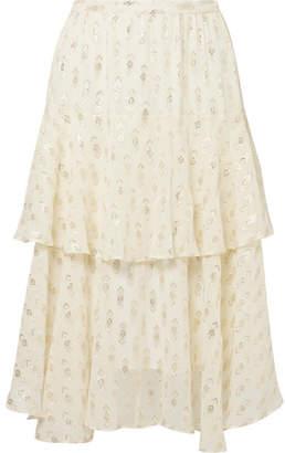 LoveShackFancy Alex Ruffled Metallic Fil Coupé Silk-blend Georgette Midi Skirt - Cream