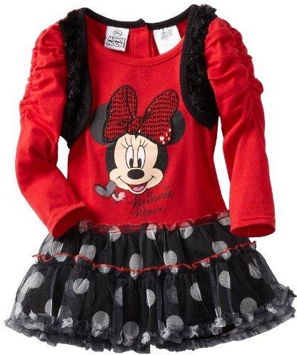 Disney Girls 2-6X Minnie Mouse Twofer Short Sleeve Dress