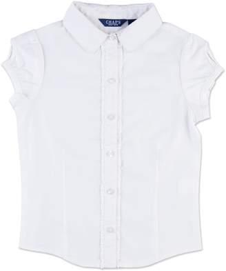 Chaps Girls 7-16 Ruffled Woven School Uniform Shirt