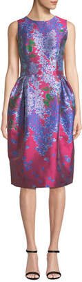 Carolina Herrera Sleeveless Full-Skirt Floral-Brocade Tea-Length Dress