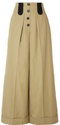 Rosie Assoulin Cotton-blend Wide-leg Pants - Beige