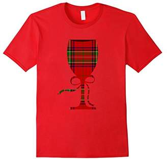 Christmas Wine Glass Scottish Plaid T-shirt Wine Lover