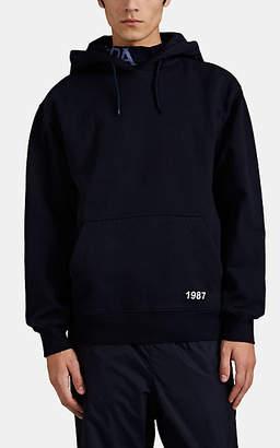 Martine Rose Napa by Men's Cotton-Blend Fleece Logo-Collar Hoodie - Md. Blue